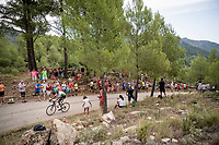 Amanuel Ghebreigzabhier (ERI/Dimension Data) up the steepest part of the brutal Mas de la Costa: the final climb towards the finish<br /> <br /> Stage 7: Onda to Mas de la Costa (183km)<br /> La Vuelta 2019<br /> <br /> ©kramon