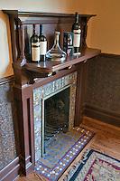 Old fireplace mantle at Beringer Vineyards. Napa Valley, California.