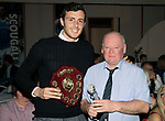 St Johnstone FC Player of the Year Awards 2017-18<br />Auchterarder Player of the Year is Joe Shaughnessy presented by George Mallis<br />Picture by Graeme Hart.<br />Copyright Perthshire Picture Agency<br />Tel: 01738 623350  Mobile: 07990 594431