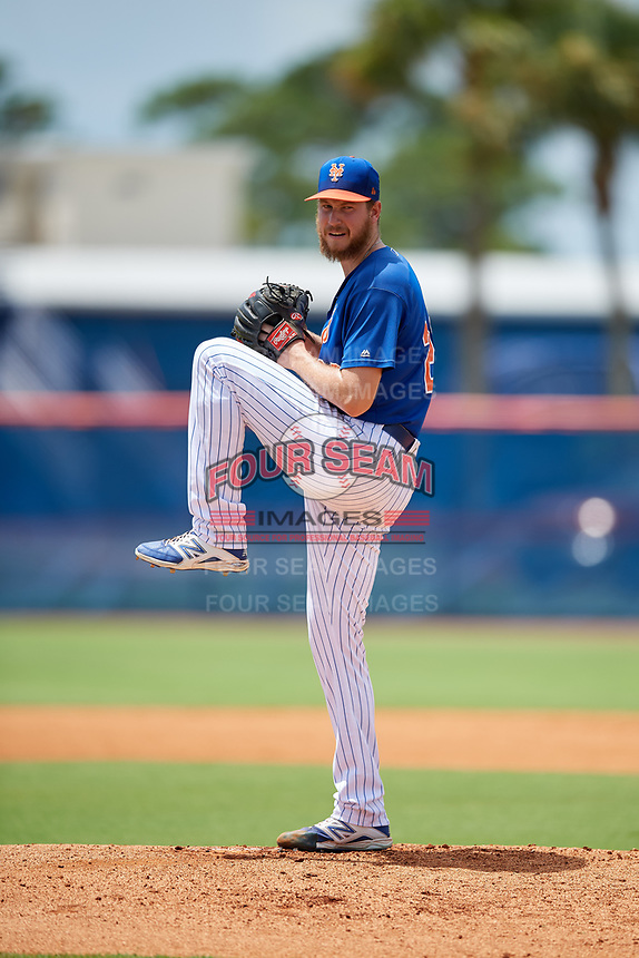 GCL Mets relief pitcher Eric Hanhold (20) delivers a pitch during a game against the GCL Marlins on August 3, 2018 at St. Lucie Sports Complex in Port St. Lucie, Florida.  GCL Mets defeated GCL Marlins 3-2.  (Mike Janes/Four Seam Images)
