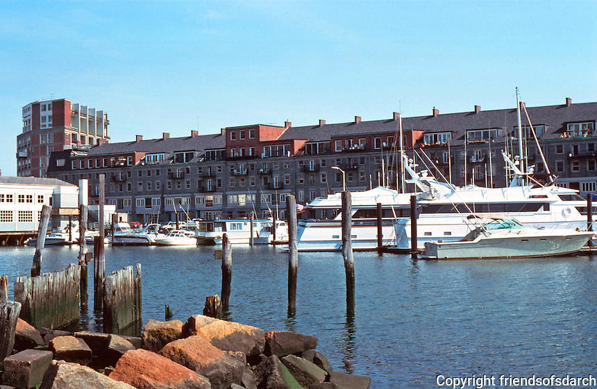 Boston:  Commercial Wharf, c. 1833. Re-use, Halasz & Halasz, 1968-69.  The dormers are added.  View from Long Wharf.  Photo '88.