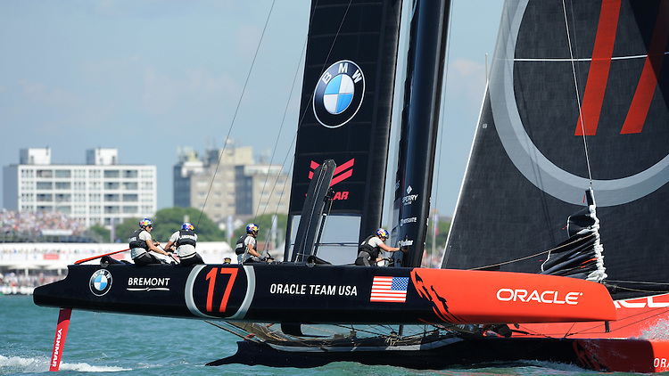 Oracle Team USA, JULY 23, 2016 - Sailing: Jimmy Spithill (AU) Skipper and helmsman of Oracle Team USA round a mark during day one of the Louis Vuitton America's Cup World Series racing, Portsmouth, United Kingdom. (Photo by Rob Munro/AFLO)