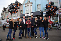 Pictured: Leon Britton (C) and MP Geraint Davies (4th L)Friday 17 February 2017<br />Re: Swansea footballer Leon Britton at the official opening of German Doner Kebab restaurant in the Uplands area of Swansea, Wales, UK.