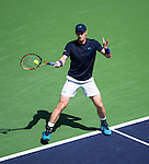 Andy Murray (GBR) during his quarterfinal match against Feliciano Lopez (ESP). Murray defeated Lopez by 63 64 at the BNP Parisbas Open in Indian Wells, CA on March 19, 2015.