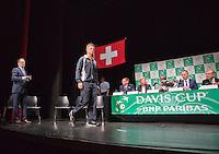 Switserland, Genève, September 17, 2015, Tennis,   Davis Cup, Switserland-Netherlands, Draw, Tin van Rijthoven<br /> Photo: Tennisimages/Henk Koster