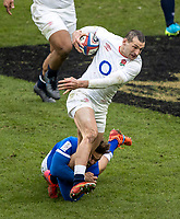 13th February 2021; Twickenham, London, England; International Rugby, Six Nations, England versus Italy; Jonny May of England is tackled around the ankles