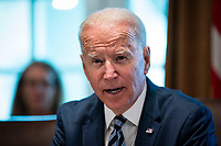 United States President Joe Biden speaks during a cabinet meeting at the White House in Washington, D.C., U.S., on Tuesday, July 20, 2021. Biden administration officials say they're starting to see signs of relief for the global semiconductor supply shortage, including commitments from manufacturers to make more automotive-grade chips for car companies. <br /> CAP/MPI/RS<br /> ©RS/MPI/Capital Pictures