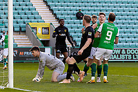 21st April 2021; Easter Road, Edinburgh, Scotland; Scottish Premiership Football, Hibernian versus Livingston; Kevin Nisbet of Hibernian celebrates after scoring the opening goal in the 8th minute