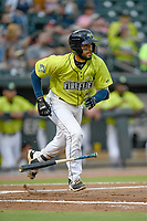 Catcher Ali Sanchez (7) of the Columbia Fireflies runs out a batted ball in a game against the Greenville Drive on Friday, May 25, 2018, at Spirit Communications Park in Columbia, South Carolina. Columbia won, 3-1. (Tom Priddy/Four Seam Images)