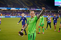 ORLANDO, FL - MARCH 05: GK Ashlyn Harris #18 and fans of the United States during a game between England and USWNT at Exploria Stadium on March 05, 2020 in Orlando, Florida.