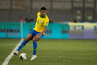 13th October 2020; National Stadium of Peru, Lima, Peru; FIFA World Cup 2022 qualifying; Peru versus Brazil;  Casemiro of Brazil holds the ball up on the wing