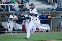 Corey Simpson (36) of the Everett Aquasox hustles into home during a game against the Vancouver Canadian at Everett Memorial Stadium in Everett, Washington on July 27, 2015.  Everett defeated Vancouver 6-0. (Ronnie Allen/Four Seam Images)