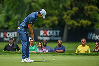 4th July 2021, Detroit, MI, USA;  Troy Merritt (USA) watches his birdie putt on 1 during the Rocket Mortgage Classic Rd4 at Detroit Golf Club on July 4,