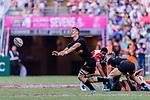 Niklas Hohl of Germany (L) passes the ball during the HSBC World Rugby Sevens Series Qualifier Final match between Germany and Japan as part of the HSBC Hong Kong Sevens 2018 on 08 April 2018 in Hong Kong, Hong Kong. Photo by Marcio Rodrigo Machado / Power Sport Images