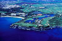 Aerial of the Marriott Hotel and golf course on Kalapaki bay, Kauai