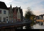 Canal Scene: Langerei at Sunrise, Bruges, Brugge, Belgium
