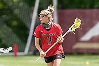 NEWTON, MA - MAY 14: Libby Rowe #3 of Fairfield University looks to pass during NCAA Division I Women's Lacrosse Tournament first round game between Fairfield University and Boston College at Newton Campus Lacrosse Field on May 14, 2021 in Newton, Massachusetts.