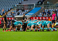 21st August 2020; Ricoh Arena, Coventry, West Midlands, England; English Gallagher Premiership Rugby, Wasps versus Worcester Warriors; The two packs scrummage during the Gallagher Premiership Rugby match between Wasps and Worcester Warriors at Ricoh Arena on August 21st 2020 in Coventry England
