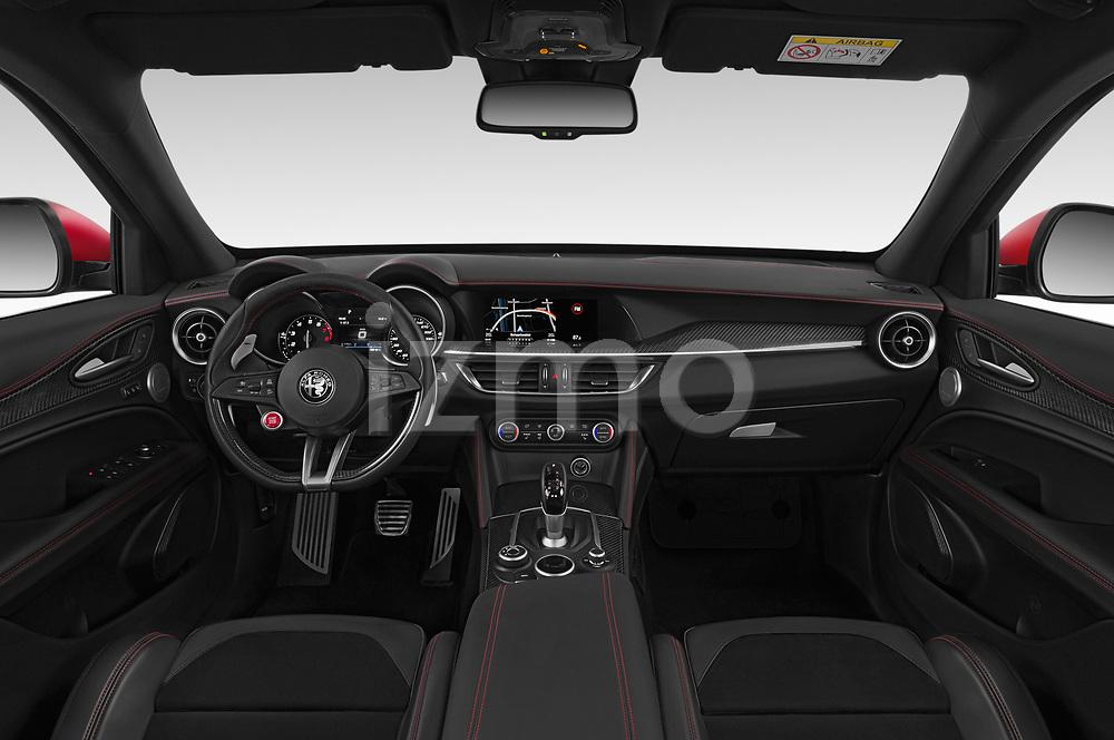 Straight dashboard view of 2019 Alfaromeo Stelvio-Quadrifoglio - 5 Door SUV Dashboard