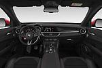 Stock photo of straight dashboard view of 2019 Alfaromeo Stelvio-Quadrifoglio - 5 Door SUV Dashboard
