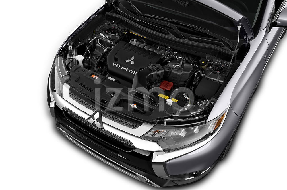 Car Stock 2019 Mitsubishi Outlander GT 5 Door SUV Engine  high angle detail view