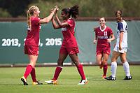 STANFORD, CA - September 3, 2017: Kyra Carusa,Catarina Macario at Cagan Stadium. Stanford defeated Navy 7-0.