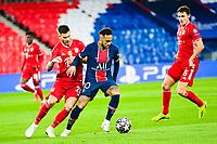 13th April 2021; Parc de Princes, Paris, France; UEFA Champions League football, quarter-final; Paris Saint Germain versus Bayern Munich;  Neymar Jr (PSG) holds off Lucas Hernandez (Bayern)