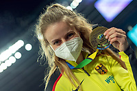 2nd May 2021; Silesian Stadium, Chorzow, Poland; World Athletics Relays 2021. Day 2; German athlete Anne Wiegold shows her gold medal as she celebrates winning the mixed hurdles