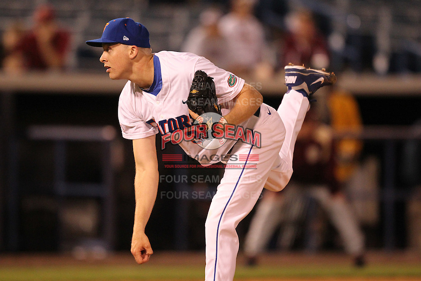 """Florida Gators Greg Larson #37 during a game vs. the Florida State Seminoles in the """"Florida Four"""" at George M. Steinbrenner Field in Tampa, Florida;  March 1, 2011.  Florida State defeated Florida 5-3.  Photo By Mike Janes/Four Seam Images"""