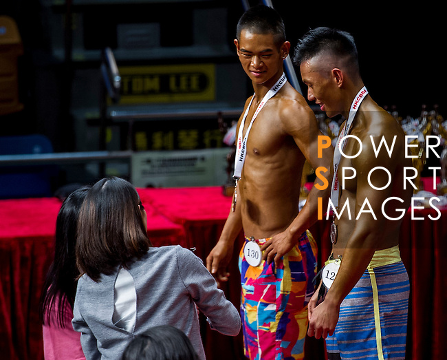 Winners in the South China Men's Sport Physique (Group B) category during the 2016 Hong Kong Bodybuilding Championships on 12 June 2016 at Queen Elizabeth Stadium, Hong Kong, China. Photo by Lucas Schifres / Power Sport Images
