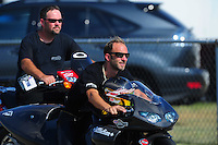 Jul, 9, 2011; Joliet, IL, USA: NHRA pro stock motorcycle rider Matt Smith during qualifying for the Route 66 Nationals at Route 66 Raceway. Mandatory Credit: Mark J. Rebilas-