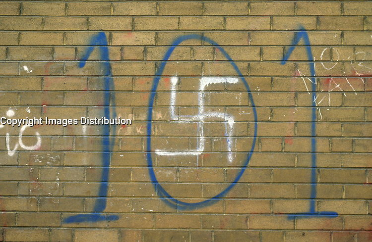 Montreal (Qc) CANADA, File Photo -<br /> <br /> anti law 101 graffiti making an analogy between Quebec pro french law and Hitler Nazi regime.<br /> <br /> <br /> <br /> photo (c) Pierre Roussel -  Images Distribution