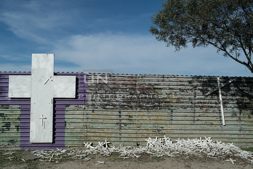 Each cross represents each mexican who died in the attempt of crossing the border since  the new fence that was built in 1984. Tijuana, Mexico. Jan 04, 2015.