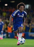 Willian of Chelsea in action during the UEFA Champions League match between Chelsea and Maccabi Tel Aviv at Stamford Bridge, London, England on 16 September 2015. Photo by Andy Rowland.