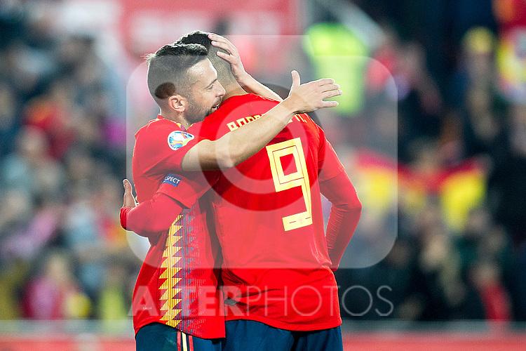 Spain's Rodrigo Moreno celebrates goal  during the qualifying match for Euro 2020 on 23th March, 2019 in Valencia, Spain. (ALTERPHOTOS/Alconada)