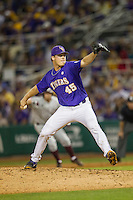 LSU Tigers pitcher Russell Reynolds (45) delivers a pitch to the plate during a Southeastern Conference baseball game against the Texas A&M Aggies on April 24, 2015 at Alex Box Stadium in Baton Rouge, Louisiana. LSU defeated Texas A&M 9-6. (Andrew Woolley/Four Seam Images)
