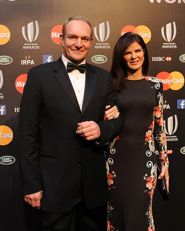 Francois Pienaar with his wife Nerine Winter at the World Rugby Awards 2015  - 01/11/2015 - Battersea Evolution, London<br /> Mandatory Credit: Rob Munro/Stewart Communications
