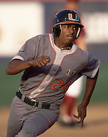 Kevin Howard of the University of Miami Hurricanes runs the bases during a 2002 season NCAA game against the UCLA Bruins at Jackie Robinson Stadium in Los Angeles, California. (Larry Goren/Four Seam Images)