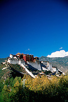 Distant view of the Potala Palace - former residence of the Dalai Lama, under a deep blue sky. Lhasa, Tibet.