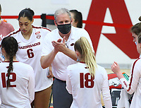 Jason Watson, head volleyball coach for Arkansas give team a pep talk during time out on Sunday, Oct. 10, 2021, during play at Barnhill Arena, Fayetteville. Visit nwaonline.com/211011Daily/ for today's photo gallery.<br /> (Special to the NWA Democrat-Gazette/David Beach)
