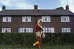 Abbots Bromley Horn Dance. Staffordshire. The Fool or Jester. September. 1979, 1970s