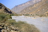Wadi Bani Kharus, Oman, Arabian Peninsula, Middle East - One of the many dry water courses leading into the mountains of interior Oman.  Leading down the middle of the dry stream bed are surface openings of the underground water channels, called aflaj (singular: falaj), a system dating back centuries, traceable to Iranian origins.