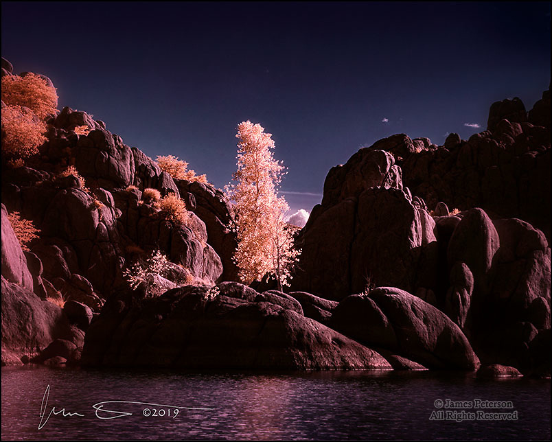 Cottonwoods in Cove, Watson Lake (Infrared).  Situated among granite boulders outside of Prescott, Arizona, Watson Lake is a great place for infrared photography.  Its cottonwoods, rooted wherever they can find a toehold in the rocky terrain, glow nicely in an infrared image.<br /> Image © 2019 James D Peterson.