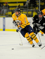 29 December 2007: Quinnipiac University Bobcats' forward Bryan Leitch, a Junior from Coquitlam, B.C., in action against the Western Michigan University Broncos at Gutterson Fieldhouse in Burlington, Vermont. The Bobcats defeated the Broncos 2-1 in the first game of the Sheraton/TD Banknorth Catamount Cup Tournament...Mandatory Photo Credit: Ed Wolfstein Photo