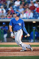 Dunedin Blue Jays first baseman Ryan McBroom (23) at bat during a game against the Clearwater Threshers on April 8, 2016 at Bright House Field in Clearwater, Florida.  Dunedin defeated Clearwater 8-3.  (Mike Janes/Four Seam Images)