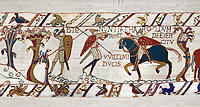 11th Century Medieval Bayeux Tapestry - Scene 50 - A watchman warns Harold that the Norman army is close. Battle of Hastings 1066.