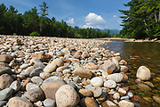 Saco River in Bartlett, New Hampshire during the summer months. This is an example of boulder - cobble river channel.
