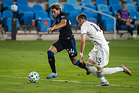 SAN JOSE, CA - SEPTEMBER 05: Cade Cowell #44 evades Sam Vines #13 during a game between Colorado Rapids and San Jose Earthquakes at Earthquakes Stadium on September 05, 2020 in San Jose, California.