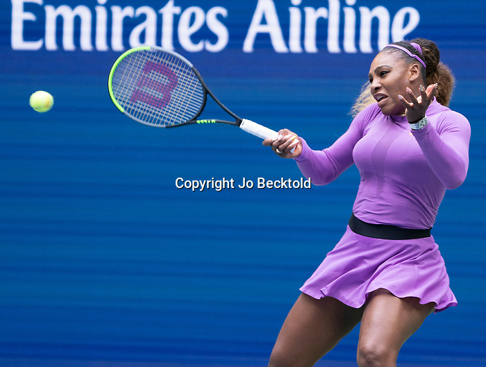 September 7,2019:   Serena Williams (USA) loses to Bianca Andreescu (CAN) 6-3, 7-5, at the US Open being played at Billie Jean King National Tennis Center in Flushing, Queens, NY.  ©Jo Becktold/CSM