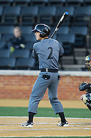Colin Hawk (2) of the Cincinnati Bearcats at bat against the Wake Forest Demon Deacons at Wake Forest Baseball Park on February 21, 2014 in Winston-Salem, North Carolina.  The Bearcats defeated the Demon Deacons 5-0.  (Brian Westerholt/Four Seam Images)